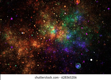 Bright galaxy. Abstract blue, green and orange sparkles on black background. Fantasy fractal texture. Digital art. 3D rendering.