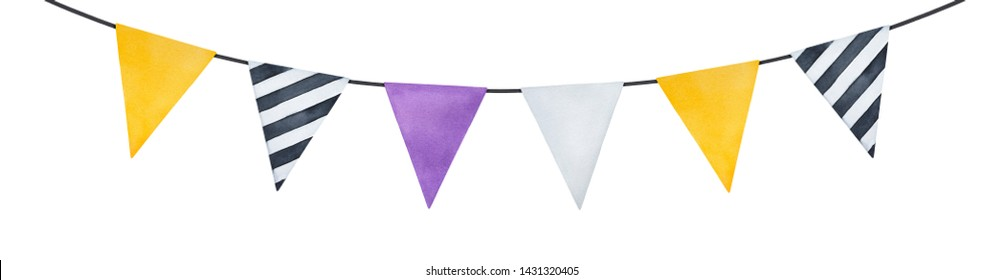 Bright garland with cute paper flags (different color and pattern). Hand drawn watercolour painting on white, cutout clip art element for greeting card, invitation, scrapbooking, design decoration.