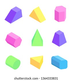 Bright geometric figures set raster illustration with colorful hexagonal triangular and cuboid prisms square pyramids cylinder combined prism