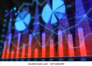 Bright glowing forex background. Investment, stock, finance, analysis and profit. 3D Rendering