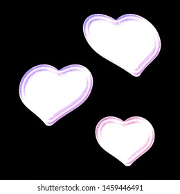 Bright glowing pink & purple color white sheared rounded hearts set shapes design elements in a 3D illustration with a bright lit neon glow effect isolated on black with clipping path