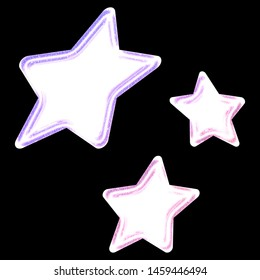 Bright glowing pink & purple color white sheared rounded star shapes set design elements in a 3D illustration with a bright lit neon glow effect isolated on black with clipping path