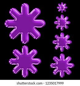 Bright glowing purple glass set of asterisk or starburst shapes design elements in a 3D illustration with purple color shiny plastic effect & beveled edge on a black background