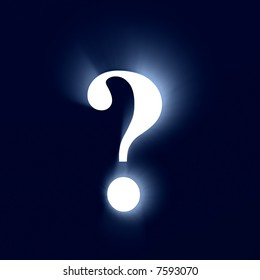 Bright glowing question mark in a light style
