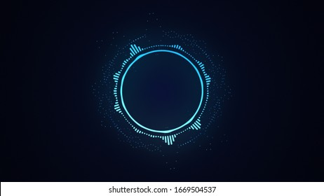 Bright glowing radial or circular equalizer illustration. Visualization of voice, music playback. Audio waveform with flowing dotts. Technological background in blue neon colors