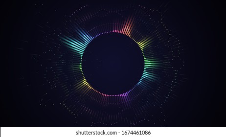 Bright glowing radial or circular equalizer illustration. Visualization of voice, music playback. Audio waveform with flowing dotts. Technological background in Neon rainbow colors