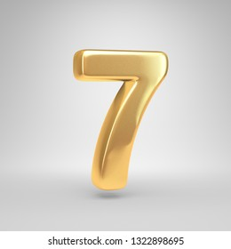 Bright gold number 7. 3D render shiny golden font isolated on white background