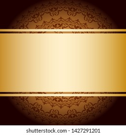bright golden ribbon on brown vintage background with gradient
