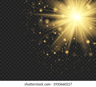 Bright golden Star. Shining sun, bright flash on a transparent background. Gold sparks glitter special light effect. Christmas abstract pattern. Sparkling magic dust particles.