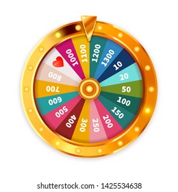 Bright Golden Wheel of Fortune with lighting bulbs isolated on white