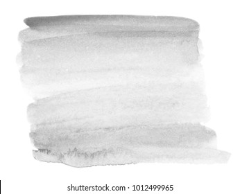 Bright gray watercolor stain. Abstract hand drawn grey watercolor background