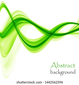 Bright green abstract waves on a white background