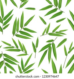 Bright green bamboo leaves seamless hand drawn pattern on white background, scrapbooking backdrop