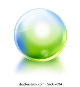A bright green and blue nature or environmental icon orb circle on a white, isolated background with a reflection. Use it for a purity or future concept.