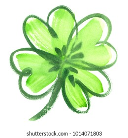 Bright green four leaf shamrock clover painted in watercolor on clean white background