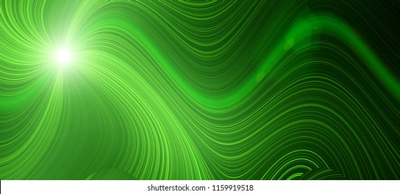 Bright green glow flux effect wave. Dynamic motion energy. Design template illustration. Panoramic image. Modern gradient background for web sites,sticker labels, postcards, banners, web design,flyers