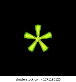 Bright green glowing shiny glass asterisk or star shape symbol in a 3D illustration with a neon green glow tube style classic font type isolated on black background with clipping path