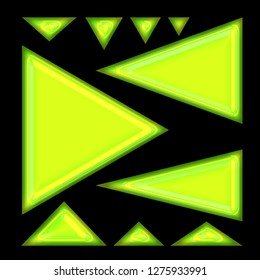 Bright green glowing shiny glass set of assorted size and shape triangle or arrow design elements 3D illustration with a neon green glow tube style effect isolated on black background