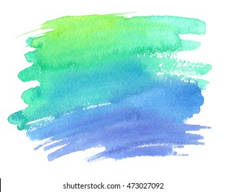 Bright green to purple gradient painted in watercolor on white isolated background