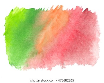 Bright green to red gradient painted in watercolor on clean white background