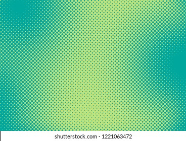 Bright green and turquoise pop art retro background with halftone in comics style raster illustration