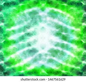 Bright green tye dye abstrakt background. Paper textured watercolor illustration