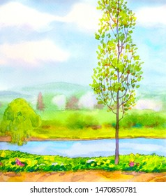 Bright hand drawn watercolour paint color sketch drawing on paper backdrop. Space for text on light blue heaven. Quiet brook creek scene. Young aspen birch on bank of calm bay springtime scenic view