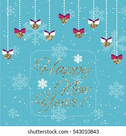 Bright Happy New Year card with Christmas gold balls. Christmas and New Year greeting card. Raster illustration