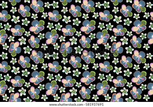 Bright hawaiian design with raster tropical plants and hibiscus flowers in pink, green and neutral colors on a black background.