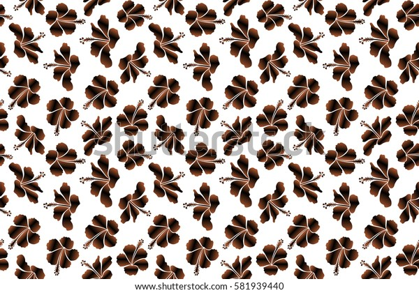 Bright hawaiian design with raster tropical plants and hibiscus flowers in black and brown colors on a white background.