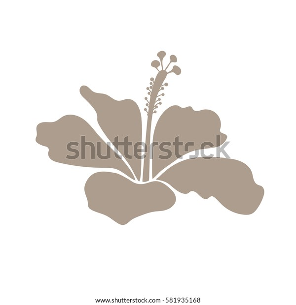 Bright hawaiian design with tropical hibiscus icon. Isolated beige on white hibiscus flower.
