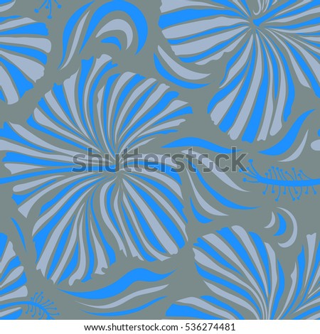 Bright Hawaiian Neutral Blue Tropical Hibiscus Stock Illustration
