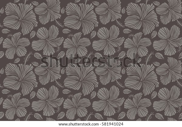 Bright hawaiian seamless pattern with gray and brown tropical hibiscus flowers.