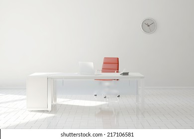 Bright home office in room with desk and computer