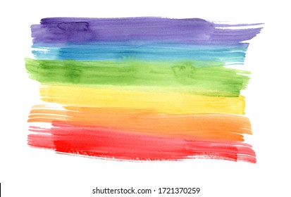 Bright horizontal rainbow colors watercolor lines background. Colorful striped gradient flag frame for lgbt design, banner, poster, isolated on white background