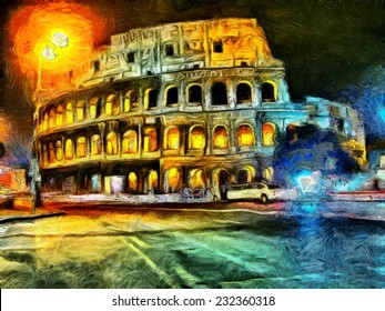 Bright illumination of Coliseum at night painting