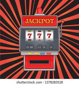 Bright illustration on jackpot theme. Red slot machine with three sevens on abstract striped background