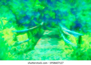 Bright impressionistic abstract of short wooden footbridge with railings crossing into woods along a nature trail on a sunny day in a state park, with digital painting effects. 3D rendering.