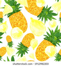 Bright joyful seamless pattern with pineapple and citrus fruits. Yellow summer fruits print.