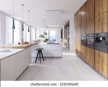 Bright kitchen contemporary style overlooking the living. White and wooden facade. Built-in appliances and designer hoods. Suspended lamps on a massive countertop bar. White parquet. 3d rendering.