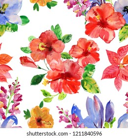 bright large flowers and buds of red hibiscus isolated on white background. Tropical seamless background.