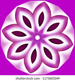 Bright lavender and white floral design on lavender background. Decorative element, ethnic design, web design, anti-stress therapy, meditation.