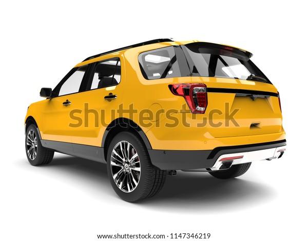 Bright lemon yellow modern SUV - tail view - 3D Illustration