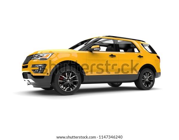 Bright lemon yellow modern SUV - low angle side view - 3D Illustration