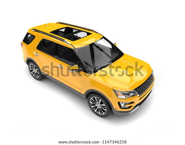 Bright lemon yellow modern SUV - top down shot - 3D Illustration