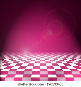 Bright light falls on the pink wall and the checkerboard floor