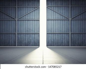 Bright light in open hangar doors