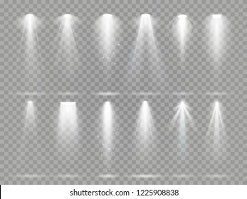 Bright lighting projector beams on theater stage. Rays of studio floodlights, white spotlight light and floodlight lights inside theater studio  set collection on checkered background