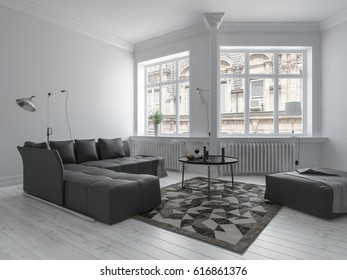 Bright living room in minimalist design with white walls, dark furniture and corner wall with big windows. 3d rendering.