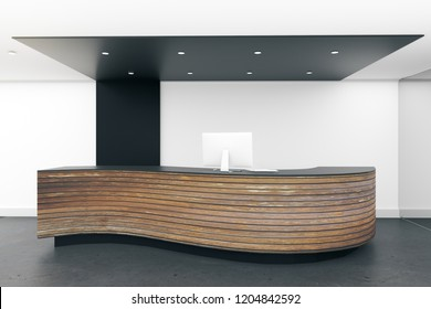 Bright lobby interior with reception desk. Office concept. 3D Rendering